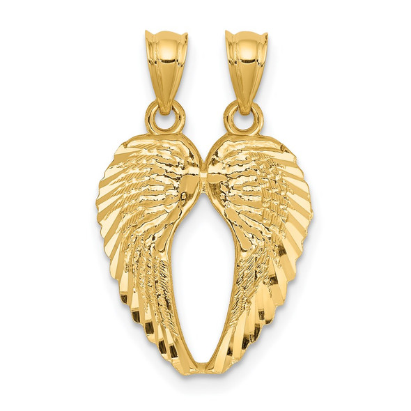 14k Yellow Gold Break Apart Diamond-Cut Angel Wings Pendant