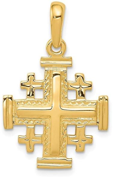 14k Yellow Gold Jerusalem Cross Pendant D1656