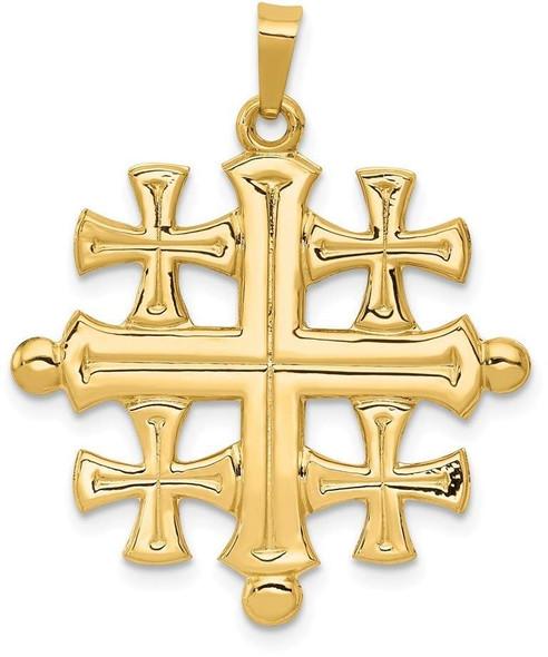 14k Yellow Gold Polished Jerusalem Cross Pendant