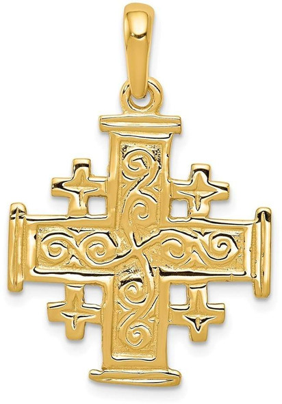 14k Yellow Gold Jerusalem Cross Pendant K1232