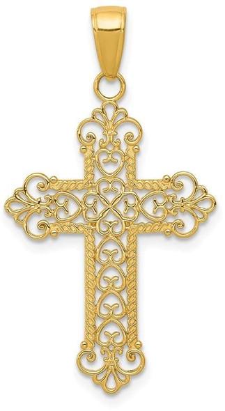 14k Yellow Gold Fleur De Lis Cross Pendant