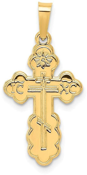 14k Yellow Gold Eastern Orthodox Cross Pendant XR567