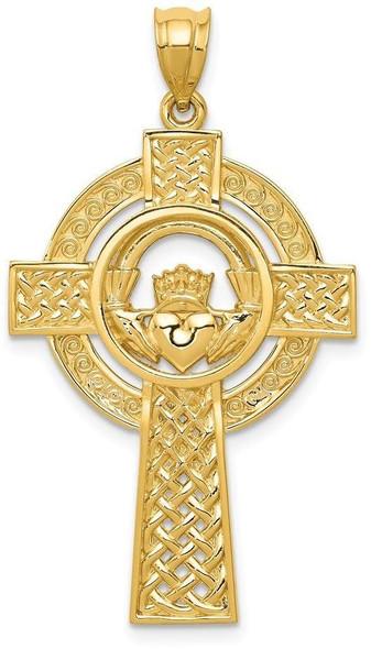 14k Yellow Gold Celtic Claddagh Cross Pendant