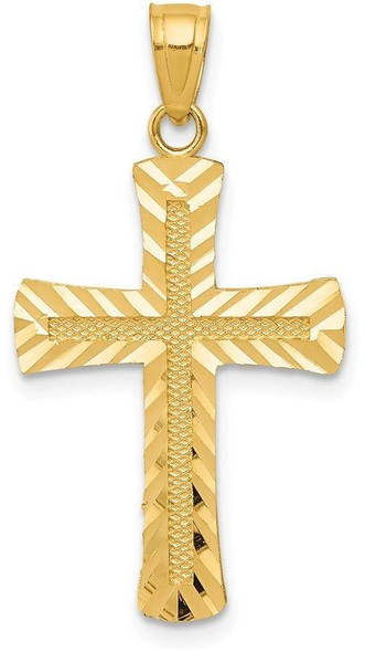 14k Yellow Gold Diamond-Cut Latin Cross Pendant K6167