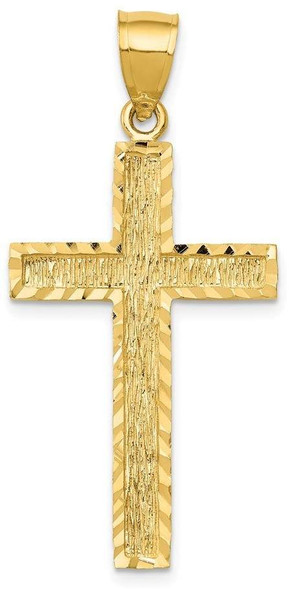 14k Yellow Gold Diamond-Cut Cross Pendant C4098