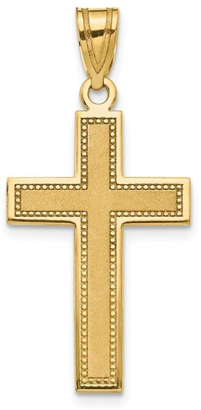 14k Yellow Gold Large Satin Cross Pendant