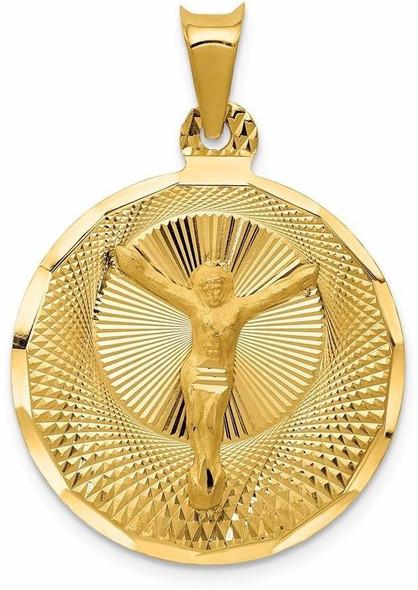 14k Yellow Gold Polished and Diamond-Cut Corpus Circle Pendant K5616