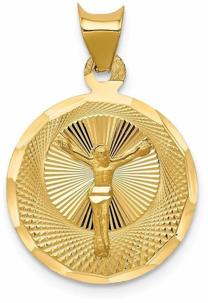 14k Yellow Gold Polished and Diamond-Cut Corpus Circle Pendant K5618
