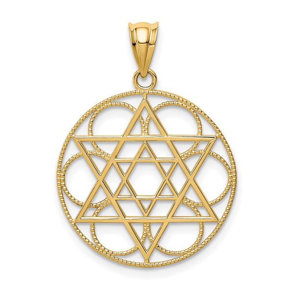 14k Yellow Gold Star Of David Circle Pendant