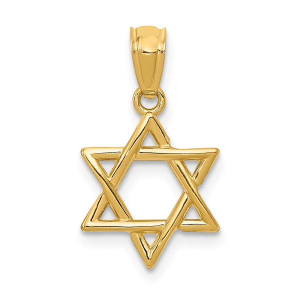 14k Yellow Gold Polished Star Of David Pendant D1695