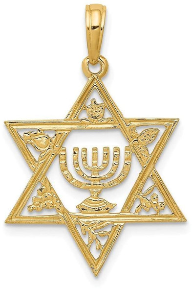 14k Yellow Gold Star Of David with Menorah Pendant