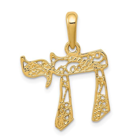 14k Yellow Gold Filigree Chai Pendant K1298