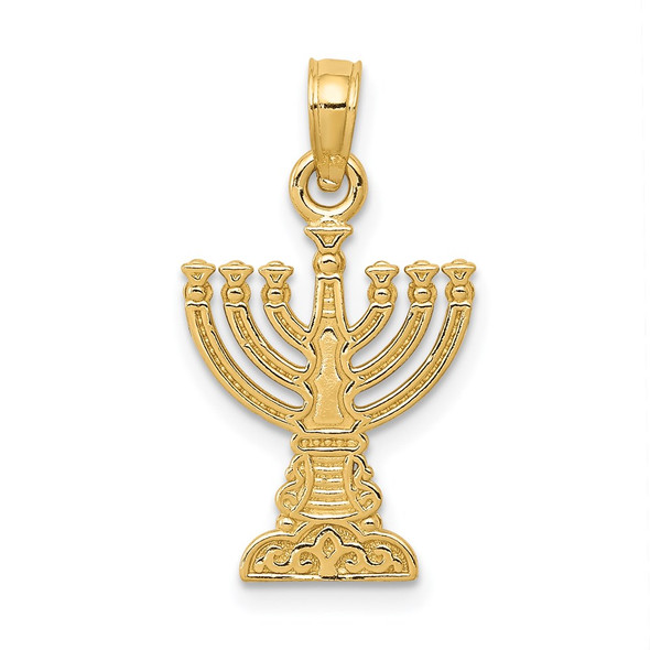 14k Yellow Gold Menorah Pendant D3800