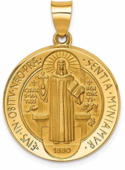 14k Yellow Gold Polished and Satin St. Benedict Reversible Hollow Medal Pendant