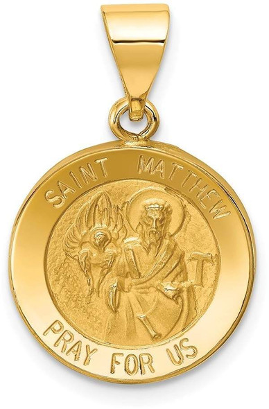 14k Yellow Gold Polished and Satin St. Matthew Medal Pendant XR1359