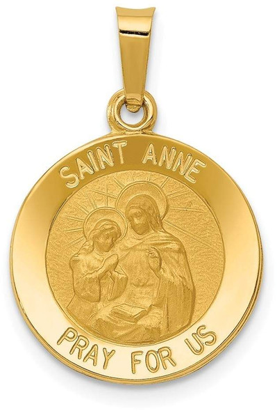 14k Yellow Gold Polished and Satin St. Anne Medal Pendant XR1285