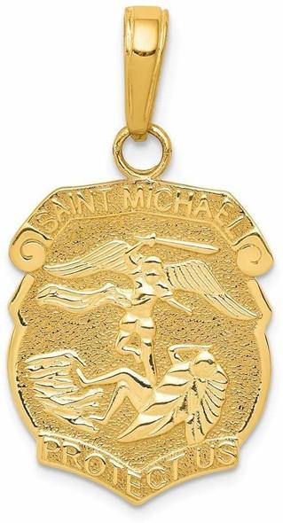 14k Yellow Gold Saint Michael Medal Badge Pendant