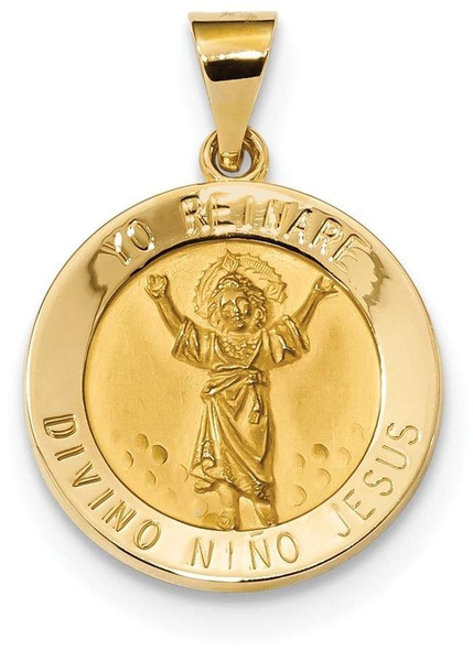 14k Yellow Gold Polished and Satin Hollow Divino Nino Round Medal Pendant XR1669