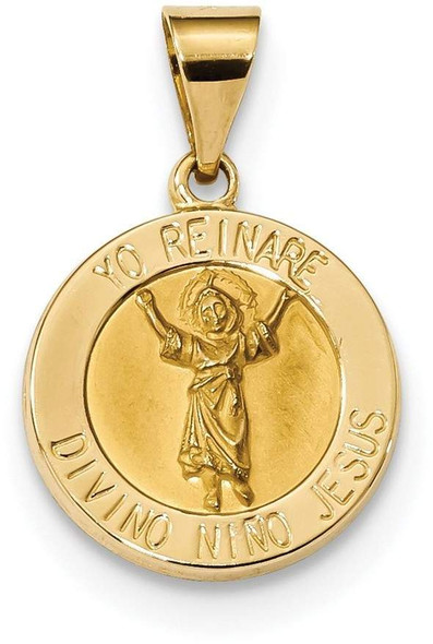 14k Yellow Gold Polished and Satin Hollow Divino Nino Round Medal Pendant XR1670