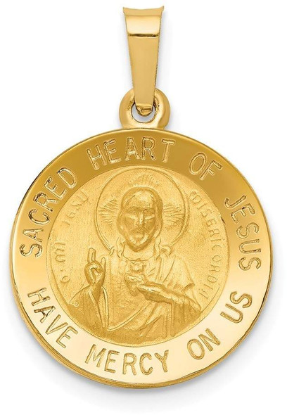 14k Yellow Gold Polished and Satin Sacred Heart Of Jesus Medal Pendant XR1237