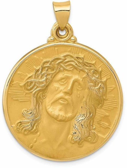 14k Yellow Gold Polished and Satin Face Of Jesus Medal Pendant XR1242