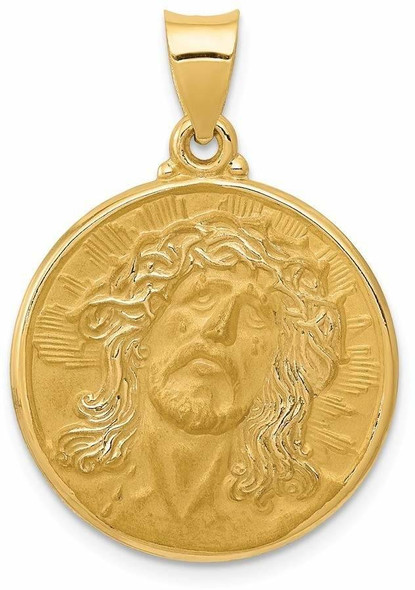14k Yellow Gold Polished and Satin Face Of Jesus Medal Pendant XR1243