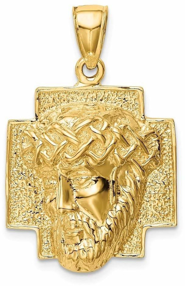 14k Yellow Gold Polished 2-D Large Jesus Head with Crown Pendant