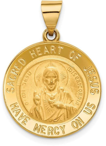 14k Yellow Gold Sacred Heart Of Jesus Medal Round Pendant