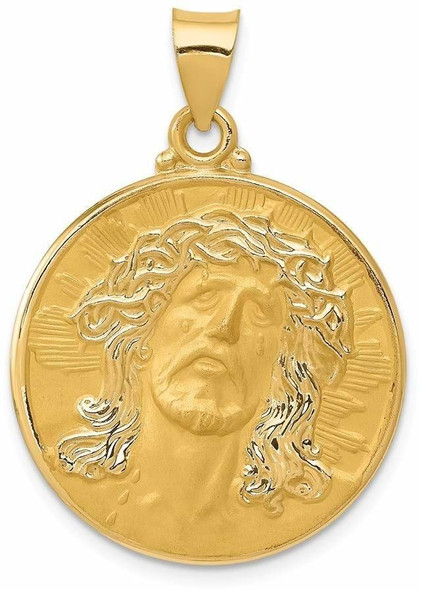 14k Yellow Gold Head Of Christ Medal Round Pendant