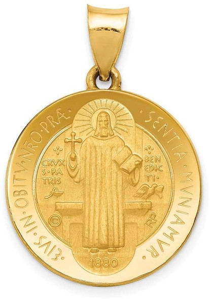 14k Yellow Gold Polished and Satin Medal Pendant