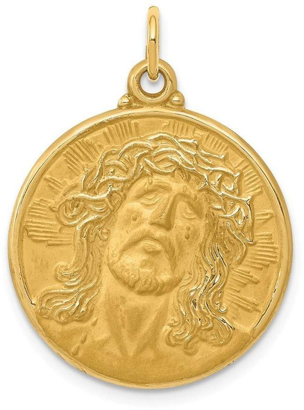 14k Yellow Gold Jesus Medal Pendant