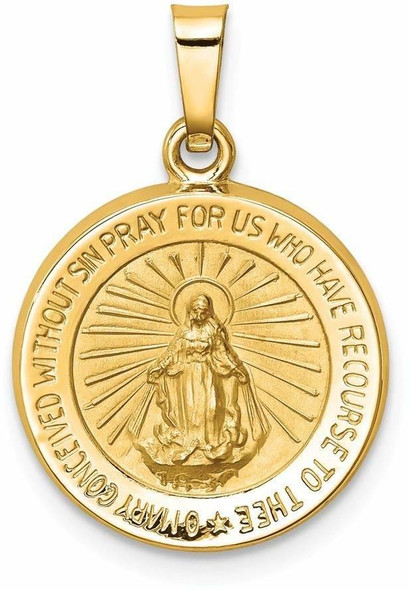 14k Yellow Gold Polished and Satin Miraculous Medal Pendant XR1270