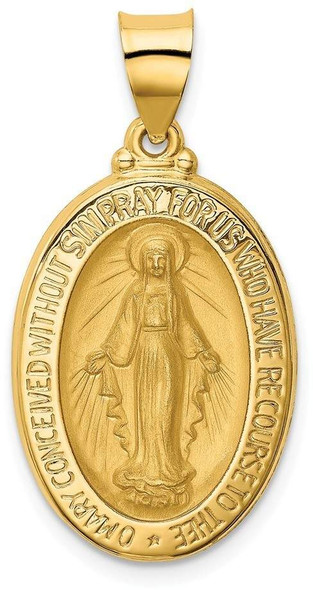 14k Yellow Gold Polished and Satin Miraculous Medal Pendant XR1277