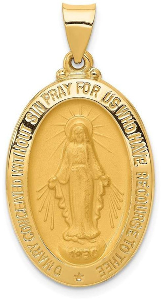14k Yellow Gold Polished and Satin Miraculous Medal Pendant XR1366