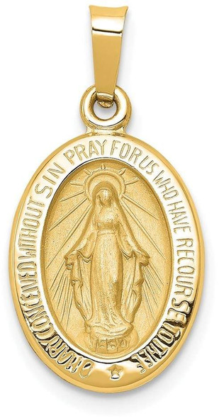 14k Yellow Gold Polished and Satin Miraculous Medal Pendant XR1401