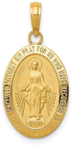 14k Yellow Gold Miraculous Medal Pendant M1432