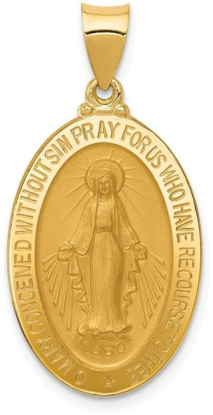 14k Yellow Gold Miraculous Medal Oval Pendant