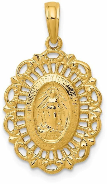 14k Yellow Gold Oval Miraculous Medal Pendant