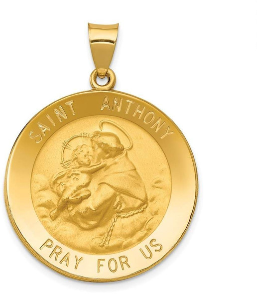 14k Yellow Gold Polished and Satin St. Anthony Medal Pendant XR1293