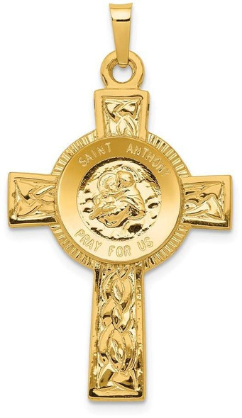14k Yellow Gold Cross with St Anthony Medal Pendant
