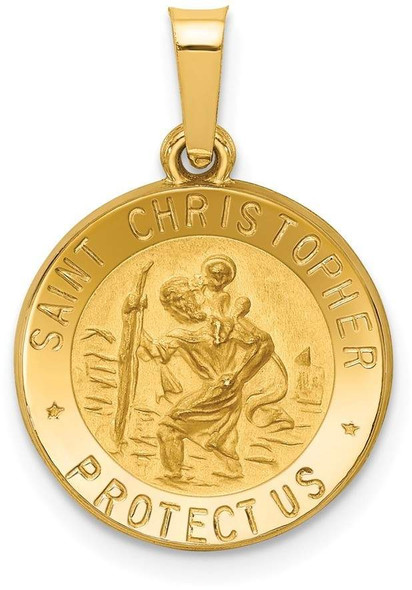 14k Yellow Gold Polished and Satin St. Christopher Medal Pendant XR1298