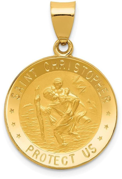 14k Yellow Gold Polished and Satin St. Christopher Medal Pendant XR1299