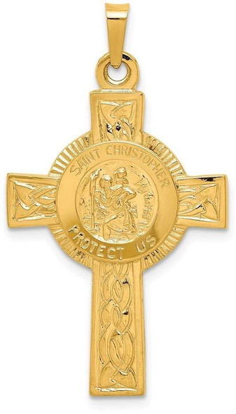 14k Yellow Gold Cross with St. Christopher Medal Pendant