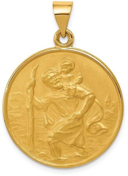 18K Yellow Gold Saint Christopher Medal Pendant 18XR14