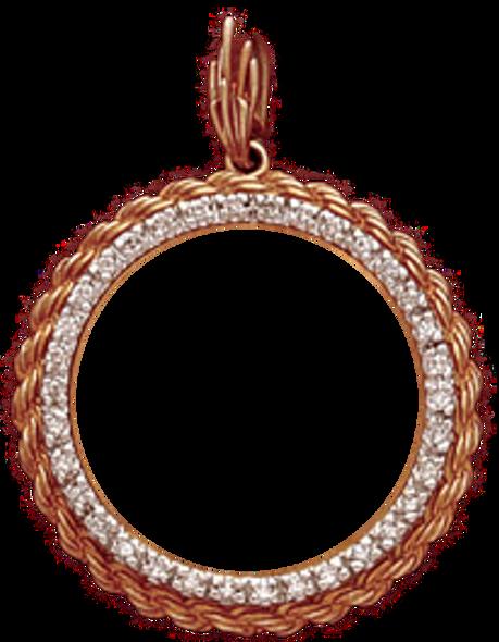 14K Gold Bezel  DIAMOND ROPE Pendant - $10 US Liberty, $10 US Indian Head