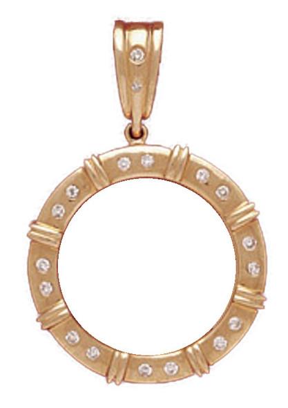 14K Gold Bezel  MULTI BAR  DIAMOND ENHANCER  Pendant - $10 US Indian Head, $10 US Liberty
