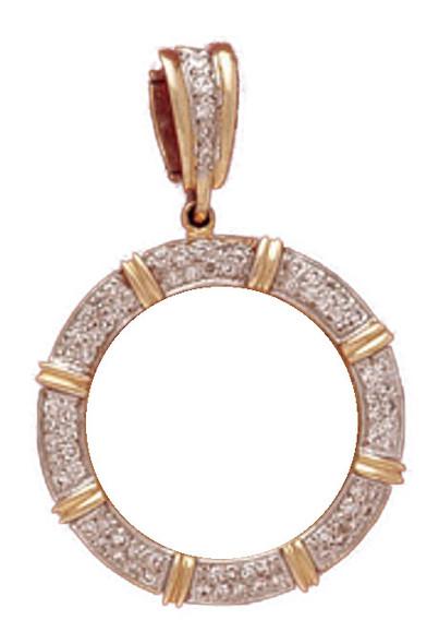 14K Gold Bezel  MULTI BAR PAVE ENHANCER Pendant - $10 US Indian Head, $10 US Liberty