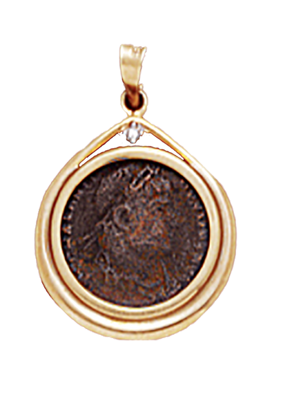 14K Yellow Gold DIAMOND ACCENT PENDANT  WITH BRONZE ROMAN COIN