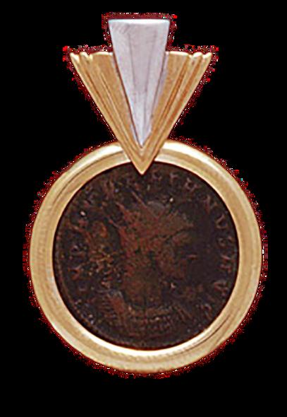 """14K  Gold """"V"""" SLIDE  PENDANT  WITH BRONZE ROMAN COIN"""