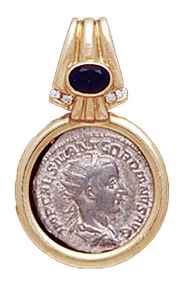 14K  Gold Diamond / Sapphire Drop Slide Pendant   With Silver Roman Coin